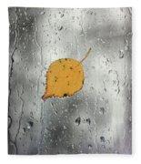 Rain On Window With Leaf Fleece Blanket
