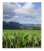Rain Over A Hanalei Taro Field Fleece Blanket