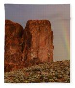Rainbow And Red Rock Fleece Blanket