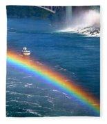 Rainbow On Niagara Falls Fleece Blanket
