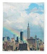 Rainbow Over Manhattan Fleece Blanket