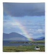 Rainbow Over Mountains, Ballinskelligs Fleece Blanket