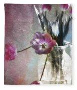 Rainbow Tulips Fleece Blanket