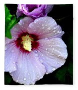 Raindrops On Roses Of Sharon Fleece Blanket