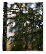 Raindrops On The Spruce Twig Fleece Blanket