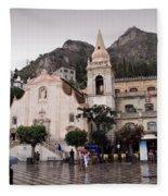 Rainy Day In Taormina Fleece Blanket