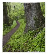 Ramsons By Path In Woods, County Louth Fleece Blanket