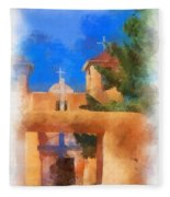 Ranchos Church Gate - Aquarell Fleece Blanket