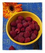 Raspberries In Yellow Bowl Fleece Blanket