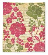 Raspberry Sorbet Floral 2 Fleece Blanket