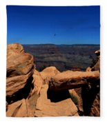 Raven Flying Near Ooh Aah Point Fleece Blanket