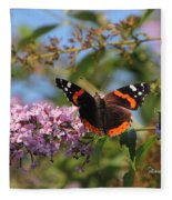 Red Admiral Butterfly Fleece Blanket