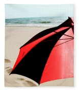 Red And Black Umbrella On The Beach With Footprints Fleece Blanket