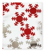 Red And Silver Snowflakes Fleece Blanket