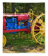 Red And Yellow Tractor Fleece Blanket