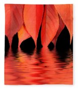 Red Autumn Leaves In Water Fleece Blanket