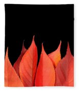 Red Autumn Leaves On Edge Fleece Blanket