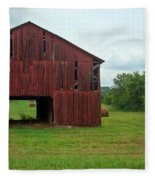 Red Barn And Hay Bales 3 Fleece Blanket