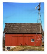 Red Barn And Windmill Fleece Blanket