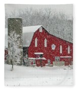 Red Barn In Heavy Snow Fleece Blanket