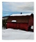 Red Barn In The Snow Fleece Blanket