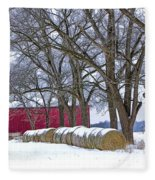 Red Barn In Winter With Hay Bales Fleece Blanket