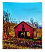 Red Barn On A Hillside Fleece Blanket