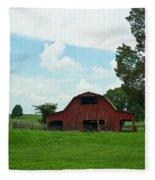 Red Barn On The Horizon Fleece Blanket