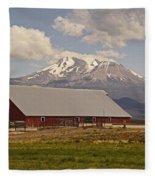 Red Barn Under Mount Shasta Fleece Blanket