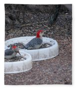 Red Bellied Woodpeckers Male And Female Fleece Blanket