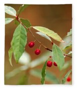 Red Bird Berries Of Fall Fleece Blanket