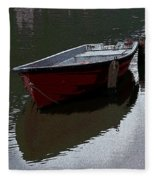 Red Boat In A Canal In The Netherlands Fleece Blanket
