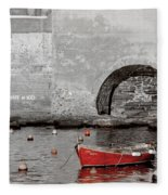 Red Boat In The Harbor At Vernazza Fleece Blanket