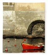 Red Boat In Vernazza Harbor On The Cinque Terre Fleece Blanket