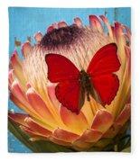 Red Butterfly On Protea Fleece Blanket