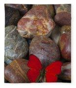 Red Butterfly On Rocks Fleece Blanket