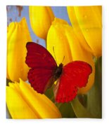 Red Butterful On Yellow Tulips Fleece Blanket