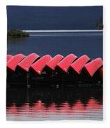 Red Canoes Maligne Lake Fleece Blanket