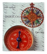 Red Compass And Rose Compass Fleece Blanket