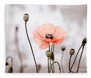 Red Corn Poppy Flowers 01 Fleece Blanket