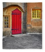 Red Door And Yellow Windows Fleece Blanket