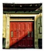 Red Door In Half Shadow Fleece Blanket