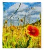 Red Flower In The Field Fleece Blanket