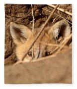 Red Fox Pup Peaking Out Of Den Fleece Blanket