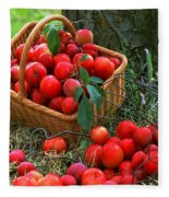 Red Fresh Plums In The Basket Fleece Blanket
