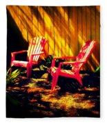 Red Garden Chairs Fleece Blanket