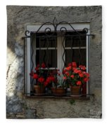 Red Geraniums In Window Fleece Blanket