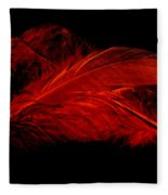 Red Ghost On Black Fleece Blanket