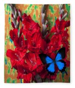 Red Gladiolus And Blue Butterfly Fleece Blanket