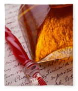 Red Glass Pen  Fleece Blanket